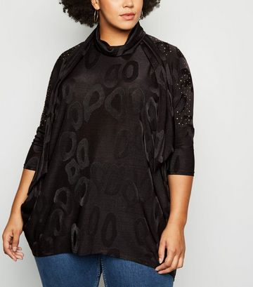Blue Vanilla Curves Black Tunic and Scarf Top