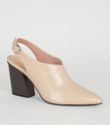 Off White Faux Croc Western Shoe Boots