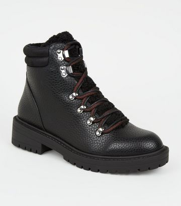 Black Leather-Look Teddy Panel Hiker Boots