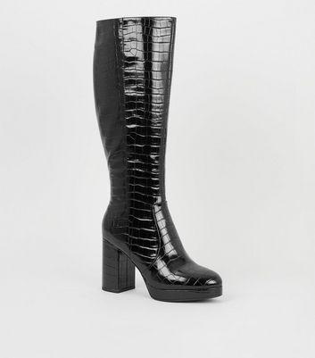 Black Patent Faux Croc Heeled Knee High