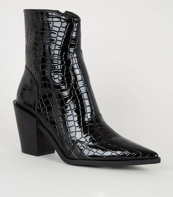 Black Faux Croc Western Heeled Calf Boots by New Look
