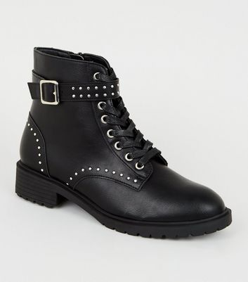 Black Leather-Look Studded Lace Up