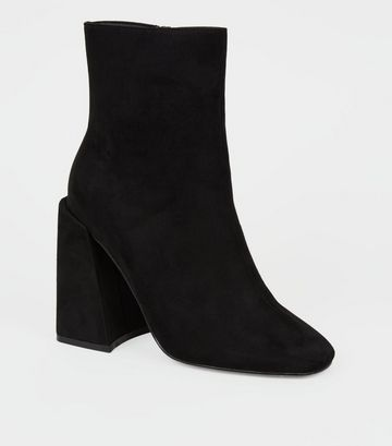 Black Suedette Flared Heel Square Toe Boots