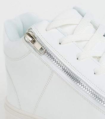 White Leather-Look Zip Side Trainers