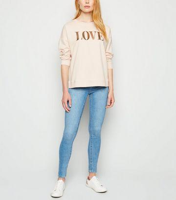 Pale Pink Love Metallic Slogan Sweatshirt