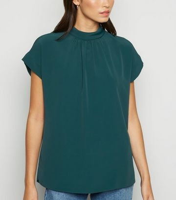 Green Roll Neck Tie Back Blouse