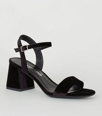Black Velvet Block Heel Sandals | New Look