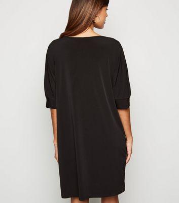 Innocence Black Puff Sleeve T-Shirt Dress New Look