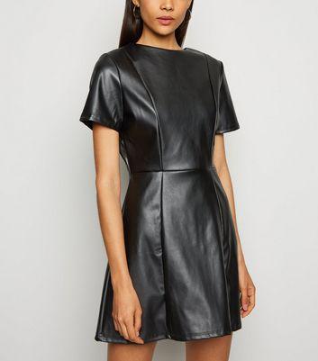 Innocence Black Leather-Look Skater Dress New Look