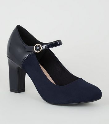 Wide Fit Navy Mixed Mary Jane Court