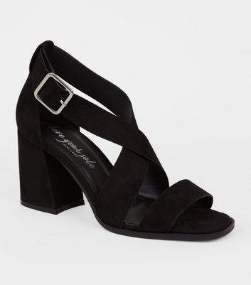 Black Suedette Cross Strap Block Heels