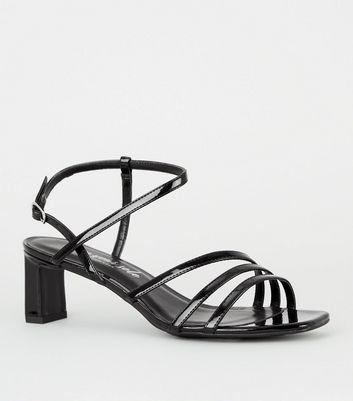Black Patent Strappy Slim Block Heel