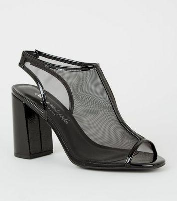 Black Mesh Slingback Peep Toe Heels