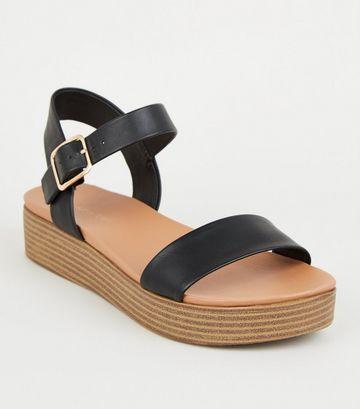 Black Leather-Look Flatform Footbed Sandals