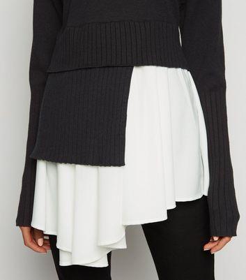 Cameo Rose Black Asymmetric 2 in 1 Jumper New Look