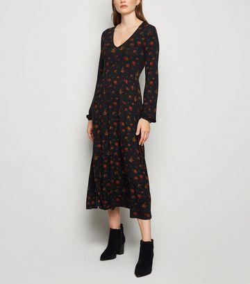 Black Rose Long Sleeve Midi Tea Dress