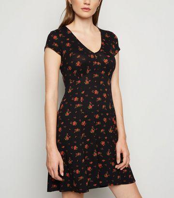 Black Ditsy Floral Jersey Skater Dress