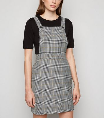 Black Check Woven Pinafore Dress by New Look