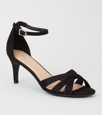 shop for Black Suedette Strappy Mid Stiletto Heels New Look Vegan at Shopo