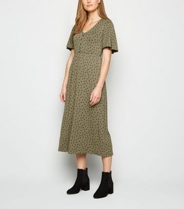 Khaki Floral Spot Button Front Midaxi Dress