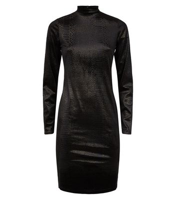 Click to view product details and reviews for Black Velvet Faux Snake Glitter Bodycon Dress New Look.