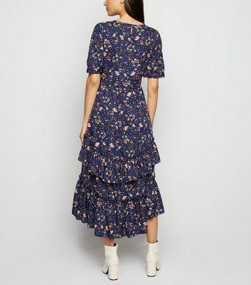 Innocence Blue Floral Ruffle Midi Dress New Look