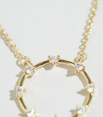 Affinity Gold Cubic Zirconia Circle Necklace New Look