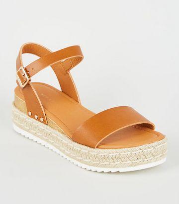 Tan Leather-Look Espadrille Flatform Sandals