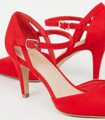 Wide Fit Red Suedette Mid Heel Court