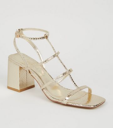 Gold Faux Snake Strappy Sandals