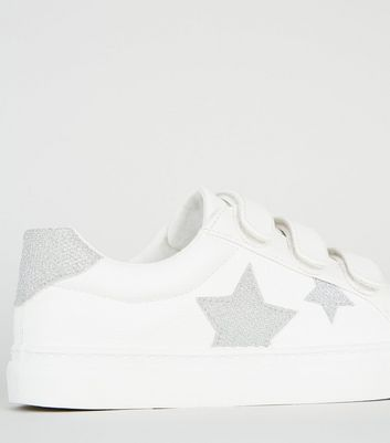 Girls White Glitter Star Rip Tape