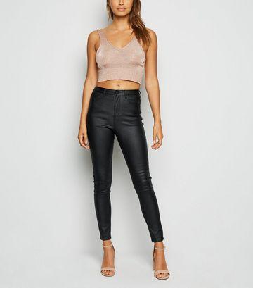 Cameo Rose Black Coated Skinny Jeans