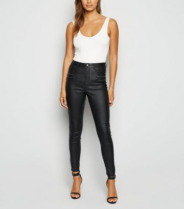 Cameo Rose Black Coated Zip Skinny Jeans