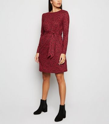 Red Floral Soft Touch Belted Tunic Dress