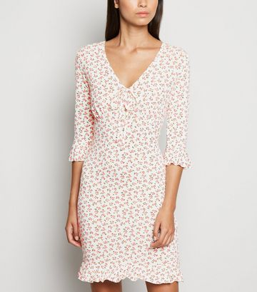 White Floral Jersey Tie Front Mini Dress