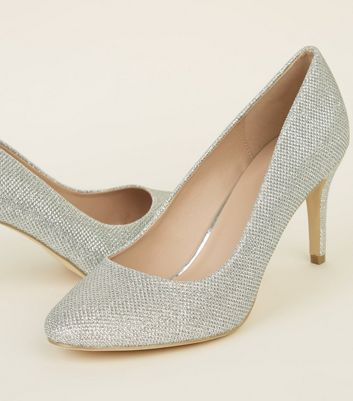 Silver Glitter Mid Heel Court Shoes