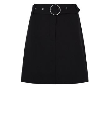 JDY Black Belted Mini Skirt New Look