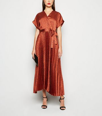 Rust Satin Spot Pleated Midi Dress