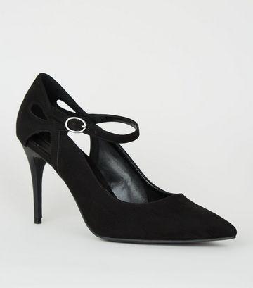 Black Suedette Cut Out Pointed Stilettos