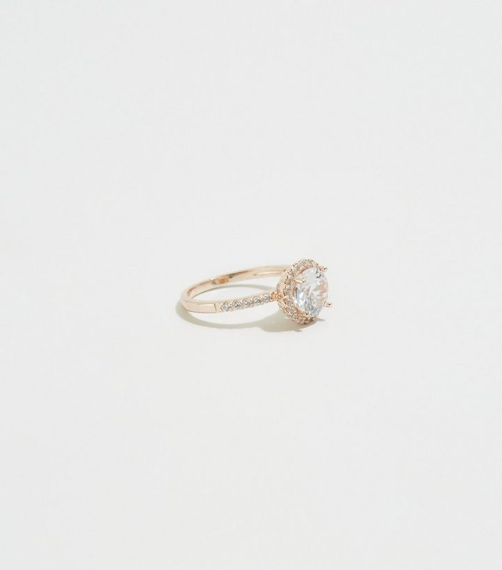 Rose Gold Cubic Zirconia Round Ring New Look
