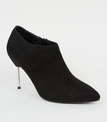 Black Metallic Heel Pointed Shoe Boots