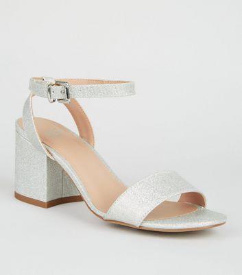 Girls Silver Glitter Block Heel Sandals