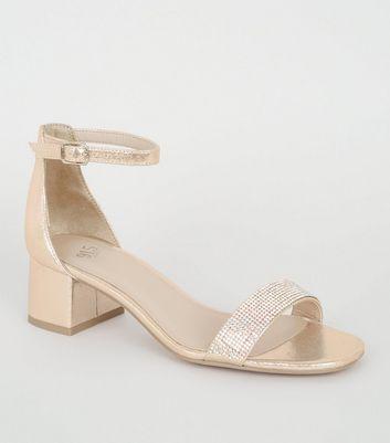 high fashion new list release info on Girls Gold Diamanté Strap Low Heel Sandals   New Look