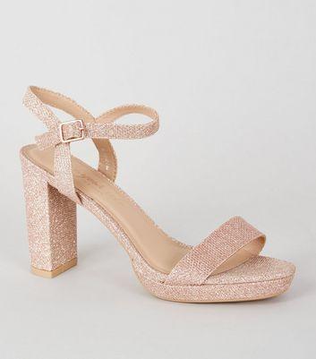 Rose Gold Glitter 2 Part Platform Heels