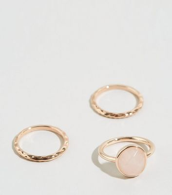 Affinity 3 Pack Rose Gold Plated Rose Quartz Rings New Look