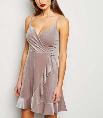 Grey Velvet Frill Wrap Dress