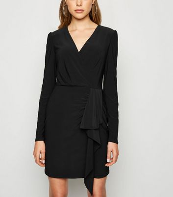 Black Long Sleeve Ruffle Wrap Dress by New Look