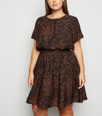 Curves Black Leopard Print Short Sleeve Dress by New Look
