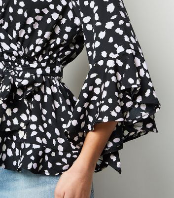 Influence Black Animal Print Wrap Blouse New Look