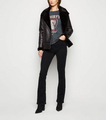 Black Waist Enhance Bootcut Jeans